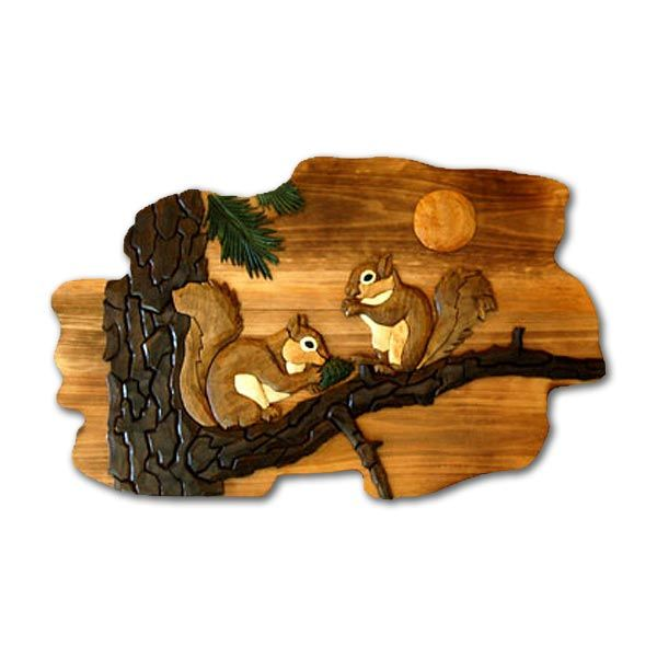 Check out the deal on Intarsia Squirrels Wood Wall Art at Cabin Place