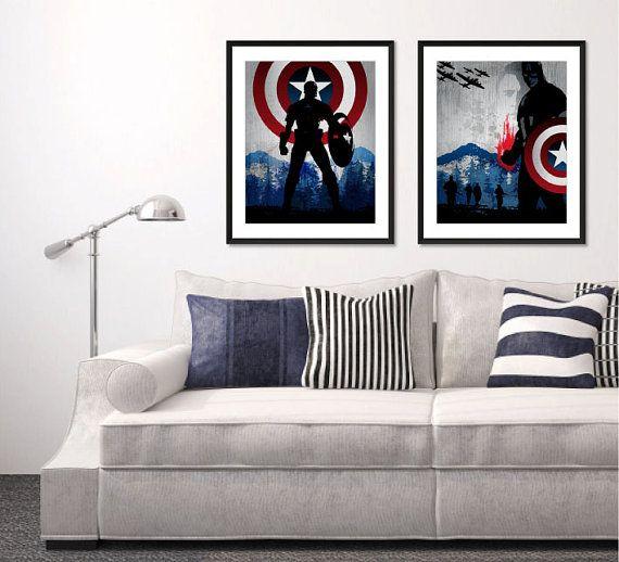Vintage Movie Art Prints. Avengers Captain by SparkleBarley
