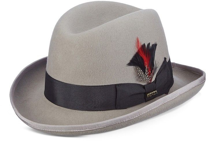 e12f522685a Stacy Adams Men s Wool Felt Homburg Hat With Feather