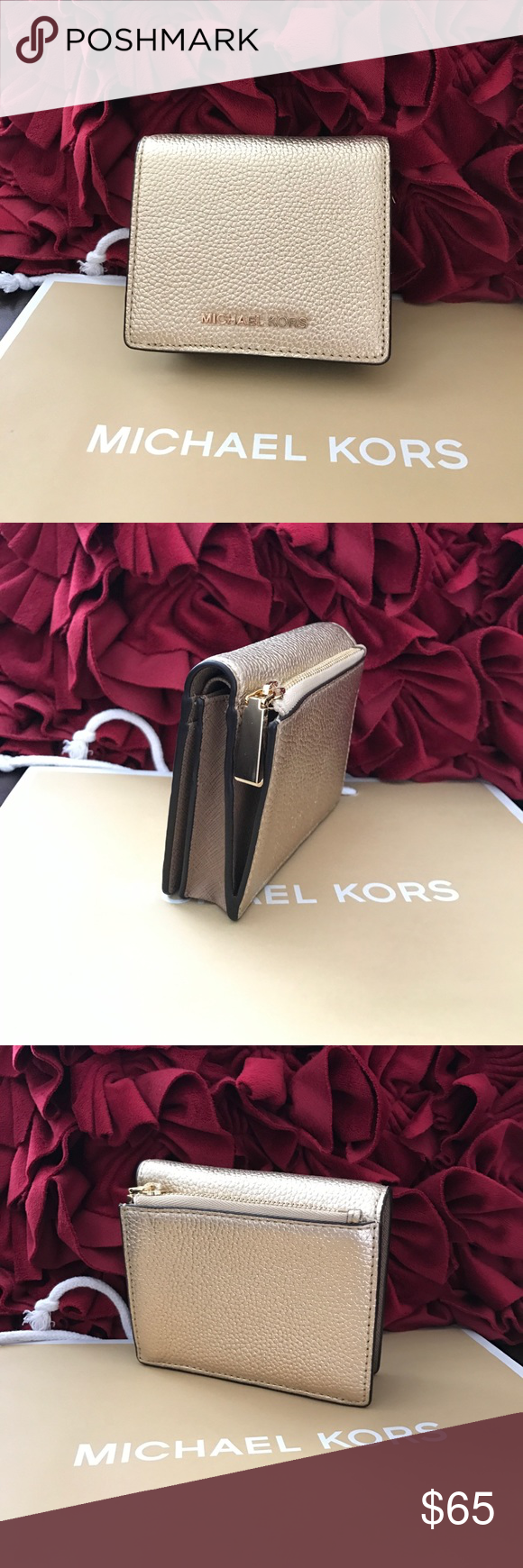 dcbba9f92a7b Michael Kors Mercer Cooper Bifold Wallet Coin Case Authentic This list is  for new Michael Kors