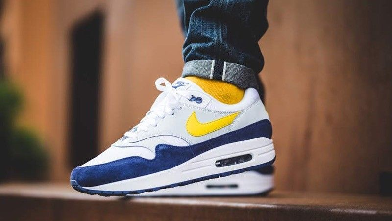$131.29 Nike Air Max 1 OG White Tour Yellow Blue Uk Sizes