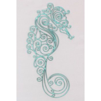 Beautiful Designed Sea Horse In Blue Scroll Pattern. Made Of MetalItu0027s  Eye Catching Design Will Make Your Beach Themed Room!Sea Horse Metal Wall  Art ...
