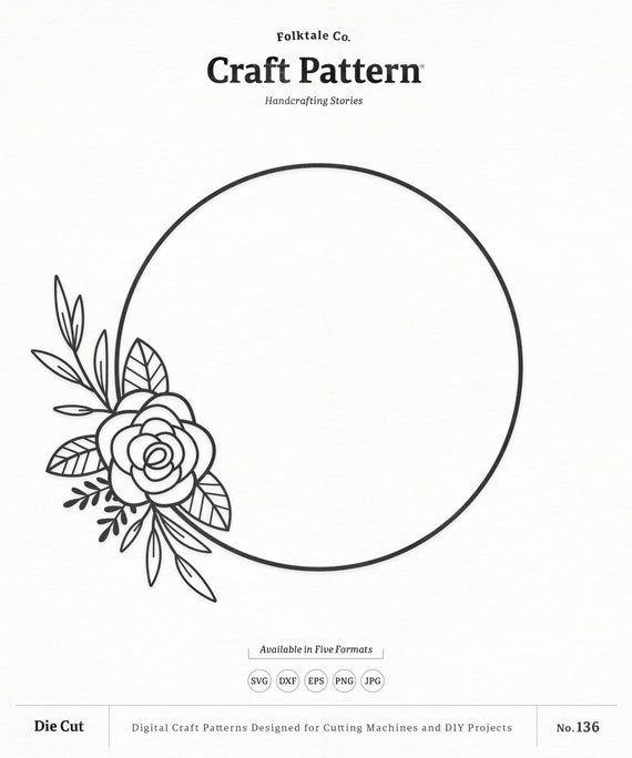Photo of Floral Wreath SVG Craft Pattern, Floral Frame SVG, Floral SVG, Wreath Clipart, Silho …