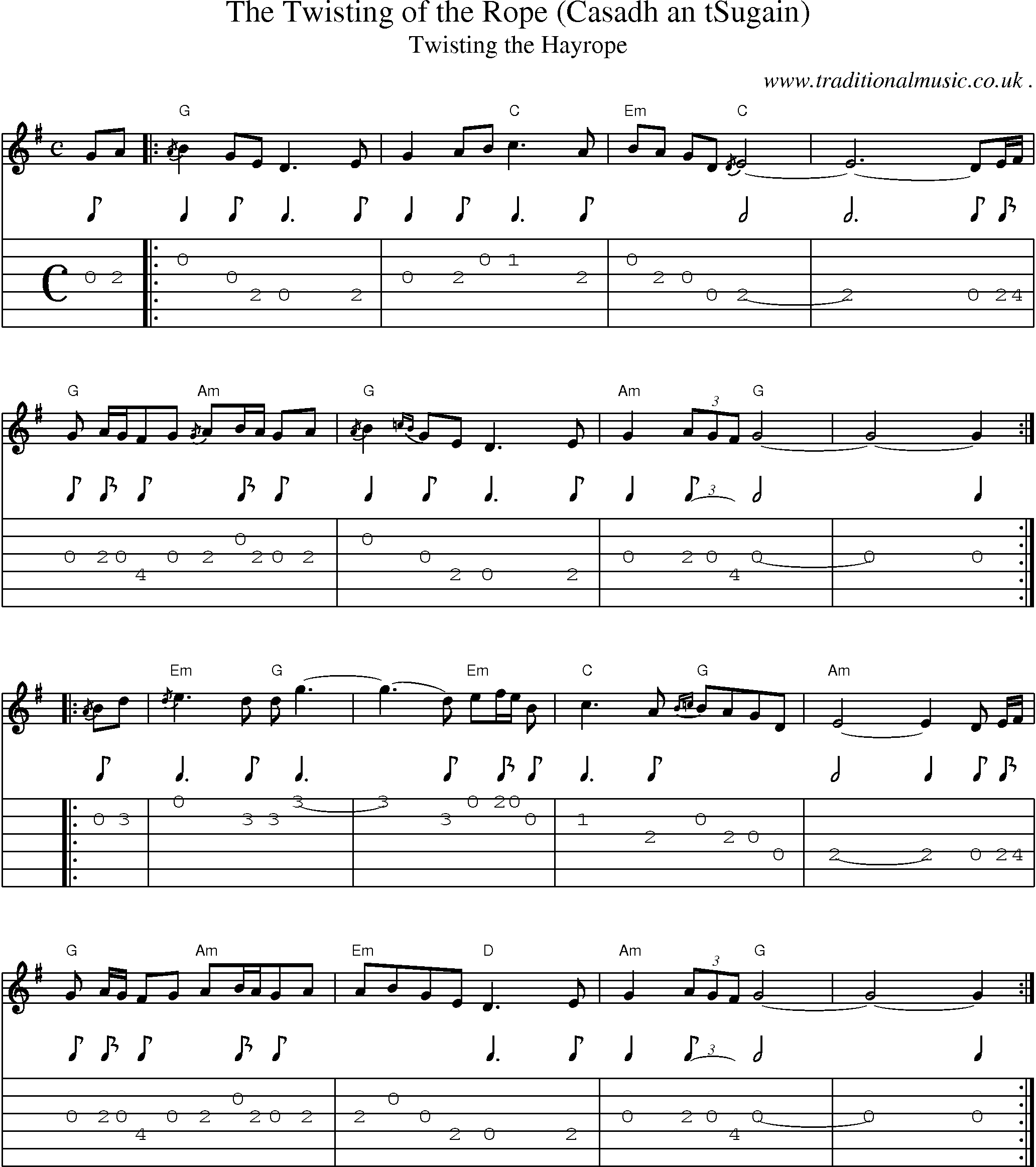 Scottish Tune Score Guitar Chords Amp Tabs The Twisting Of The Rope Casadh An Tsugain