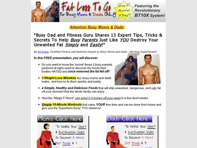 Fat Loss To Go Short Review:Great Converting 10-minute Workout Program Designed Specifically For Moms And Dads. Constantly Upgrading Package And Adding New Bonuses To Deliver More Value To Every Customer. Now Offering Recurring Program!    Download Fat The Food is a significant part of Health and wellness within our lifes!! Choose Correctly!!     Visit  http://okbehealthy.com