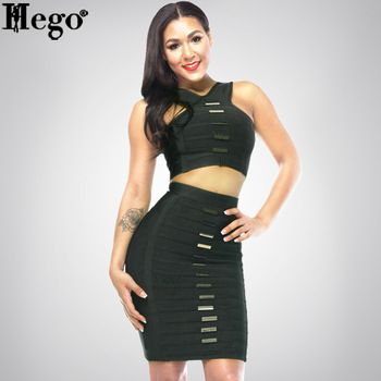 Women 2015 New 2 Pieces Sets Good Quality Party Dress Metal 90% Rayon HL117