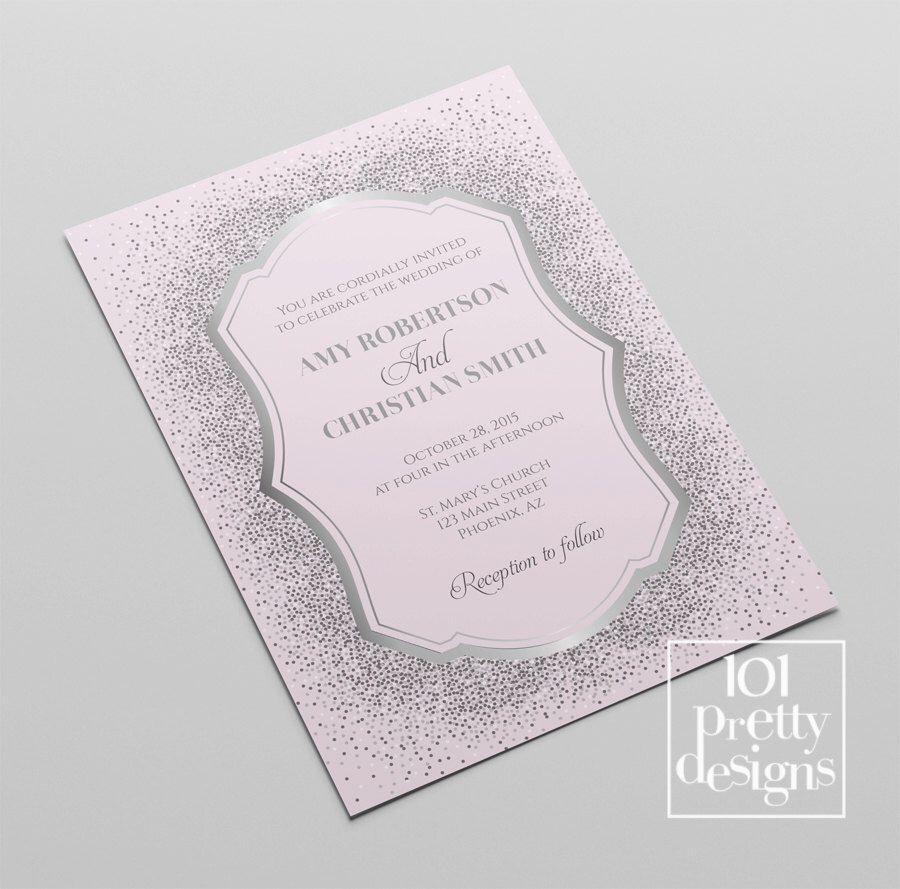 Silver glitter wedding invitation template printable wedding ...