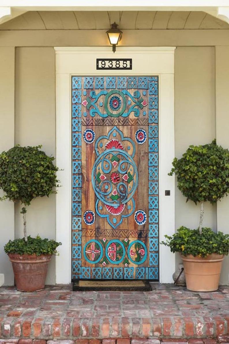 Custom Size Farmhouse Barn Door, Carved Entry Fron