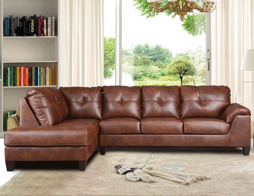 Odin Caramel Leather Gel L Shape Sectional With Chaise By Inspire Q Modern 8 Seat Sectional A Couches Living Room Leather Sofa Living Room Living Room Leather