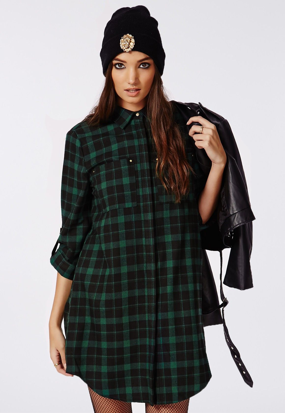 ad7d1dd6b62 Holly Oversized Longline Shirt Dress Green Check - Dresses ...