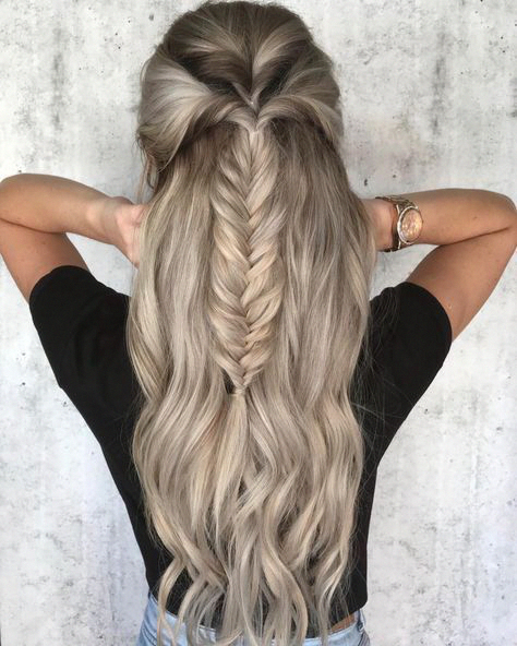 39 Trendy Messy Chic Braided Hairstyles Fishtail Braided Half Up Half Down Hairstyle Halfuphalfdown Easy Braids Thick Hair Styles Braids For Long Hair