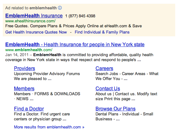 Emblemhealth Google Search Result Ads October 2012 Health Insurance Quote Family Plan Ehealth