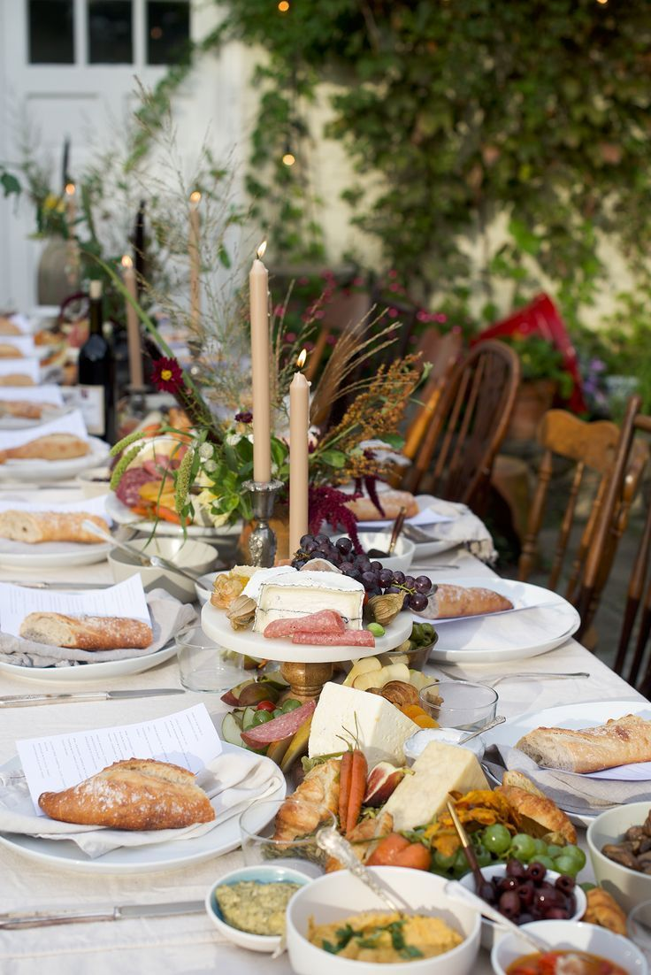 Countryside Summer Dinner - Cheese & Charcuterie Table Runner Centerpiece as Main Course #adailysomething #adailygathering #summerdinner #outdoordinner #summergathering #cheeseboard #centerpiece #tablerunner #countryhome #countryhouse