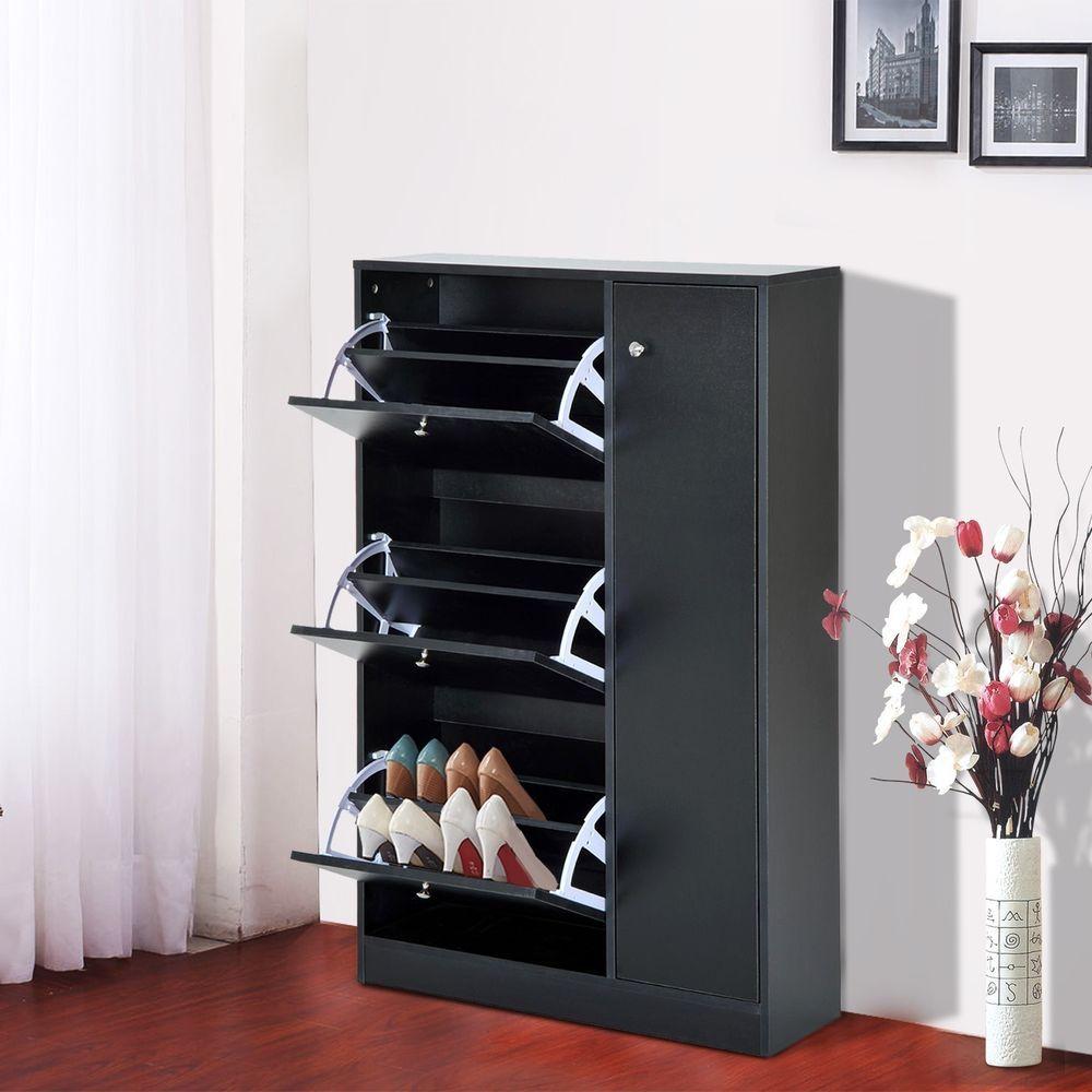 Corner hallway storage cabinet  Details about Shoe Cabinet Rack  Doors Storage Black Colour Wooden