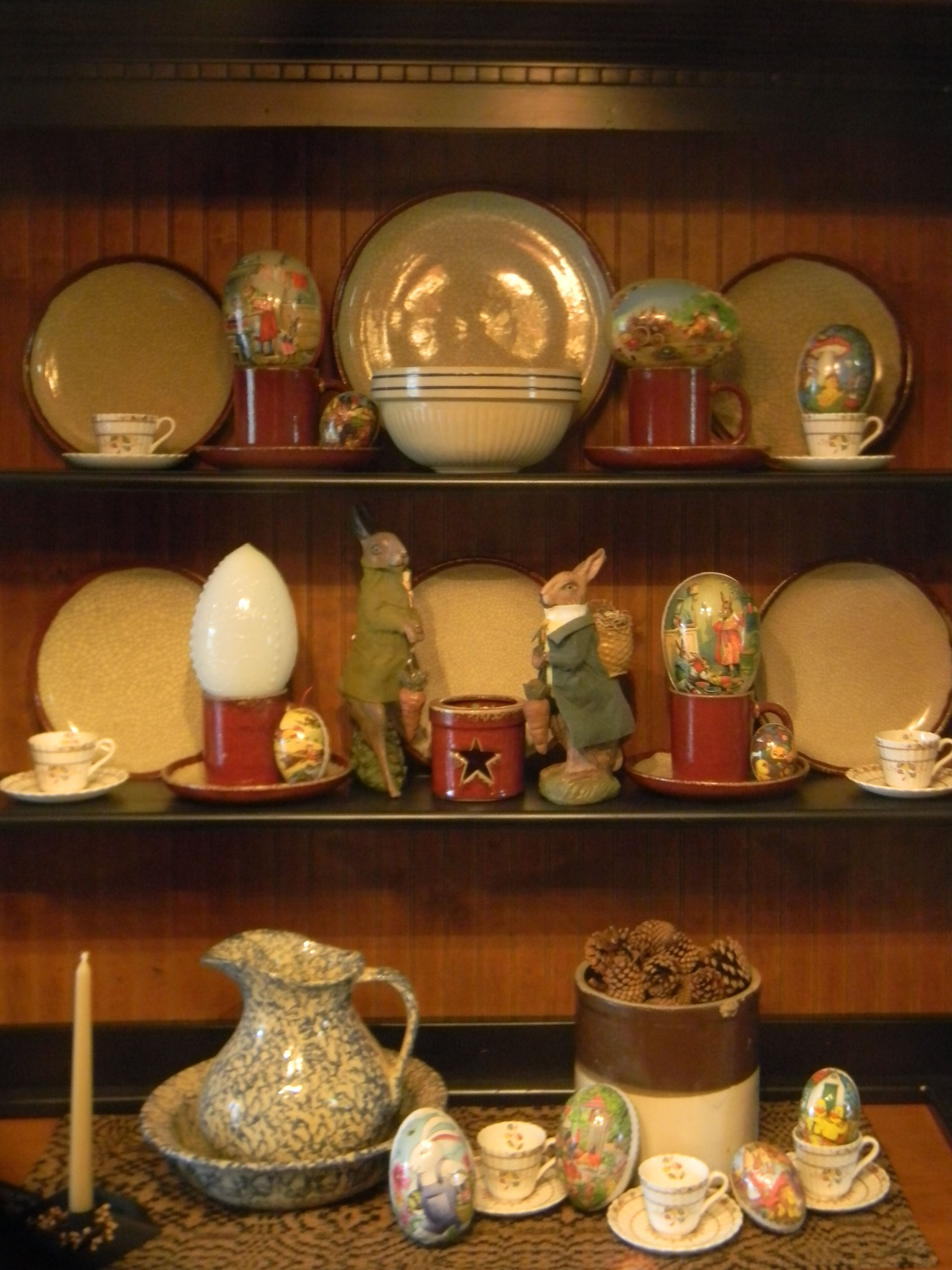 Part Of My Paper Mache Egg Collection In Dining Room Hutch They Remind Me