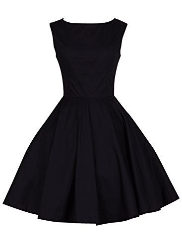 cool Anni Coco Women\'s 1950s Hepburn Vintage Swing Dresses Black X ...