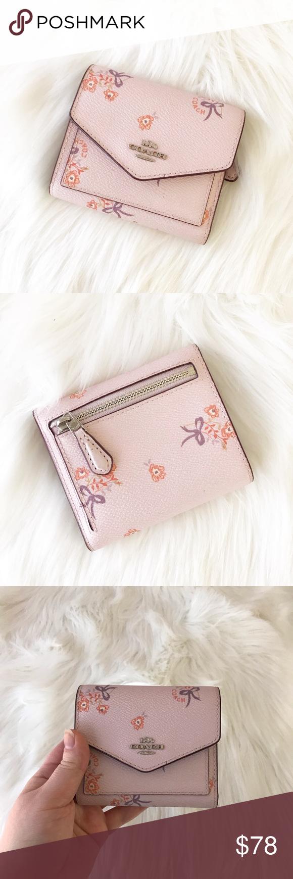 coach ice pink floral bifold wallet card holder  bi fold