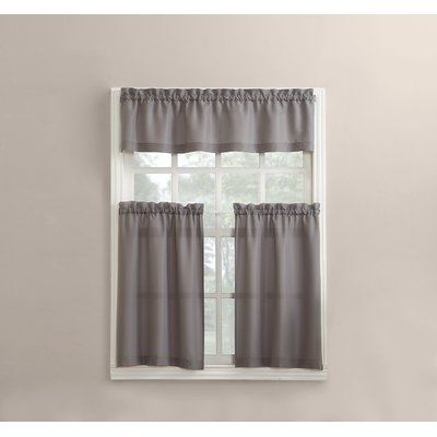 No. 918 Martine Microfiber 3 Piece Kitchen Curtain Set Color: