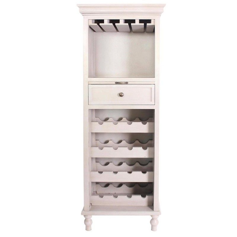 Crestview Rectangle Cream Coventry 1 Drawer Tall Wine