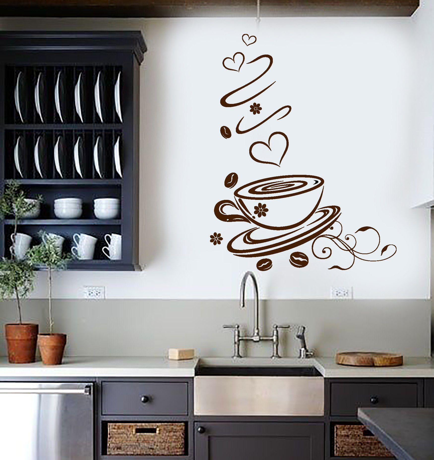 Wall Vinyl Decal Coffee Shop Cup Kitchen Art Decoration Stickers