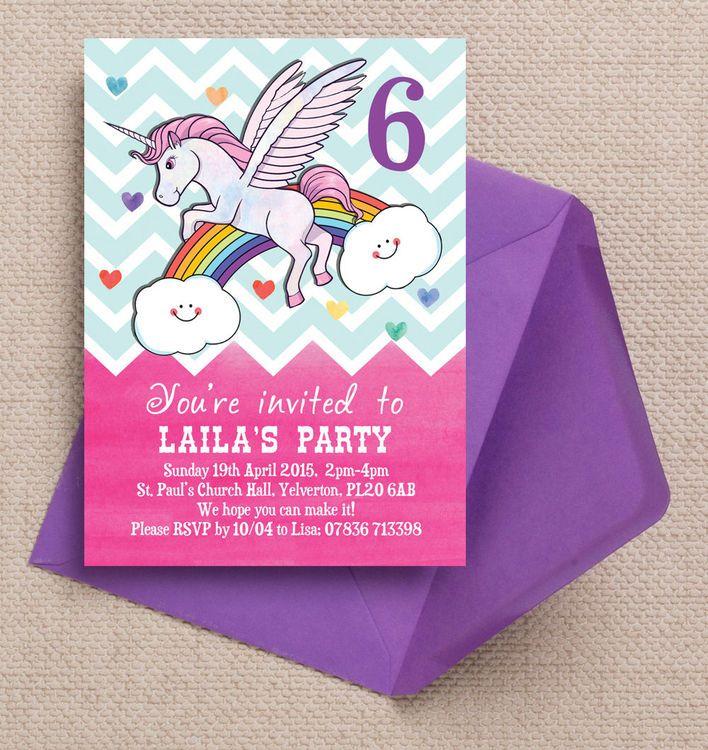 Rainbow Unicorn Party Invitation | Rainbow unicorn, Rainbow unicorn ...