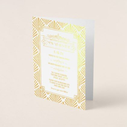 Real Gold Foil Art Deco New Year's Eve Party Foil Card ...