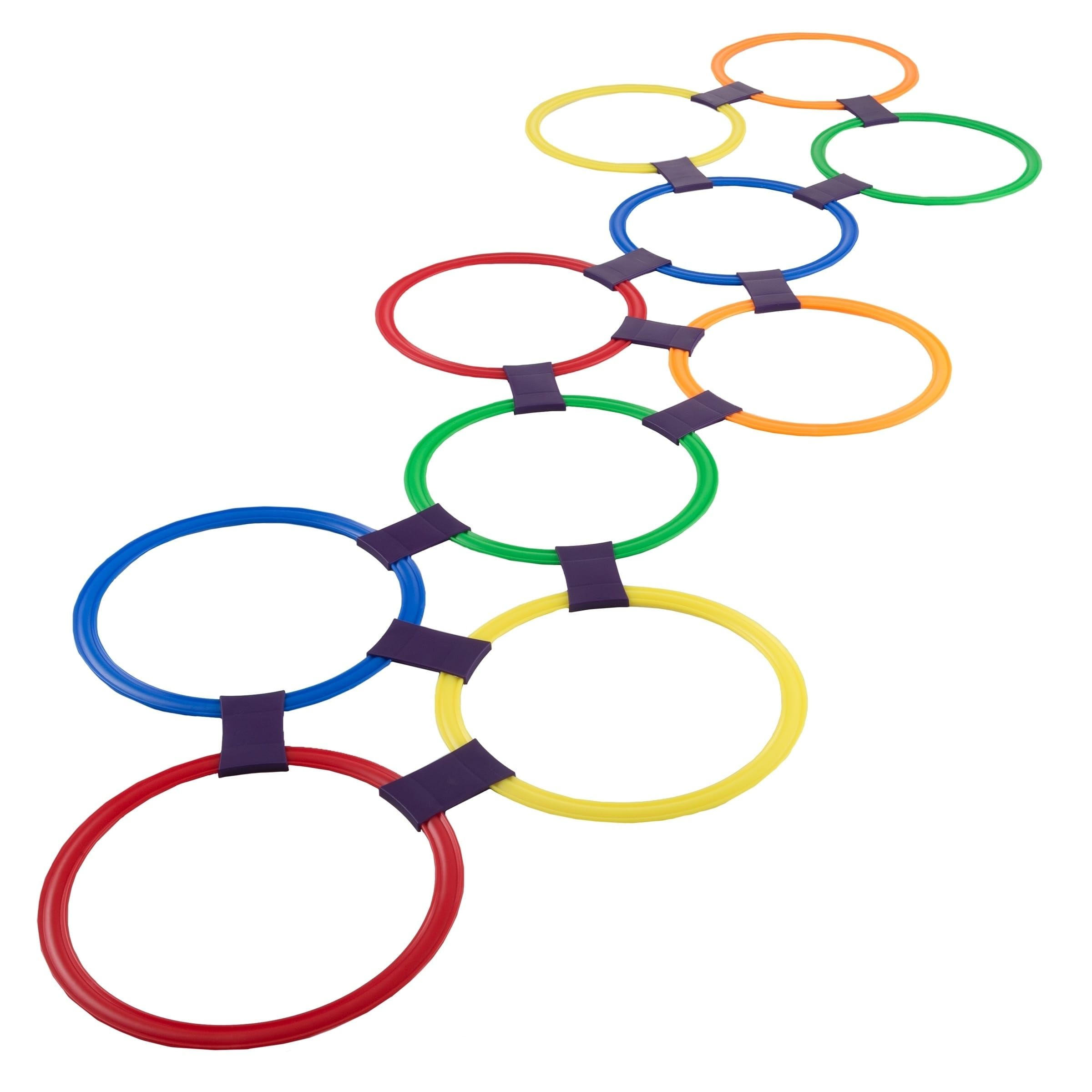 Hopscotch Ring Game-10 Multi-Colored Plastic Rings and 15 Connectors Hey! Play! – 11″ Rings, Multicolor