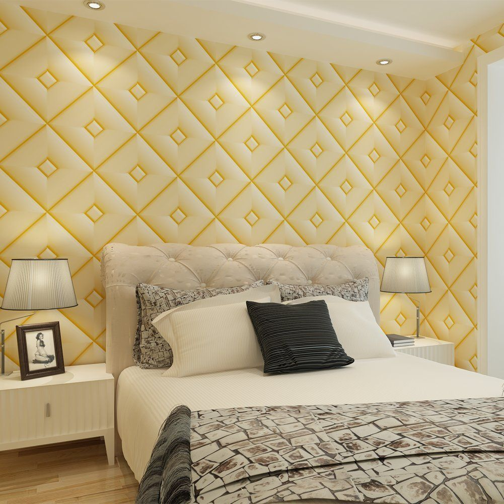 Gold Accent Wall 3D Modern Diamond Pattern PVC Vinyl Textured ...