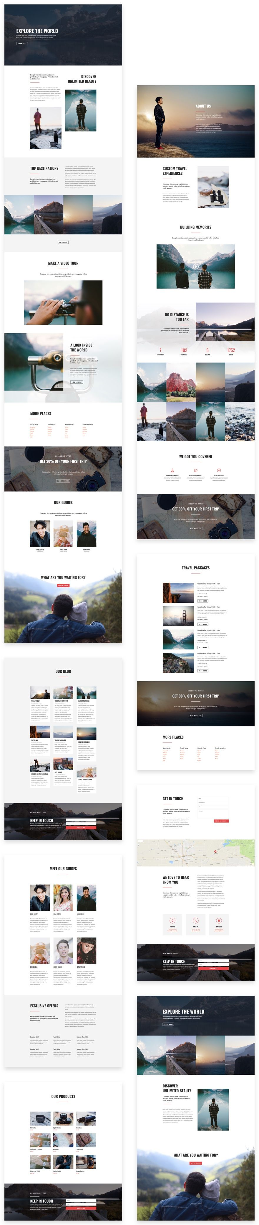 A Complete Set of Divi Layouts for a Stunning Small Business/Travel Website for $0
