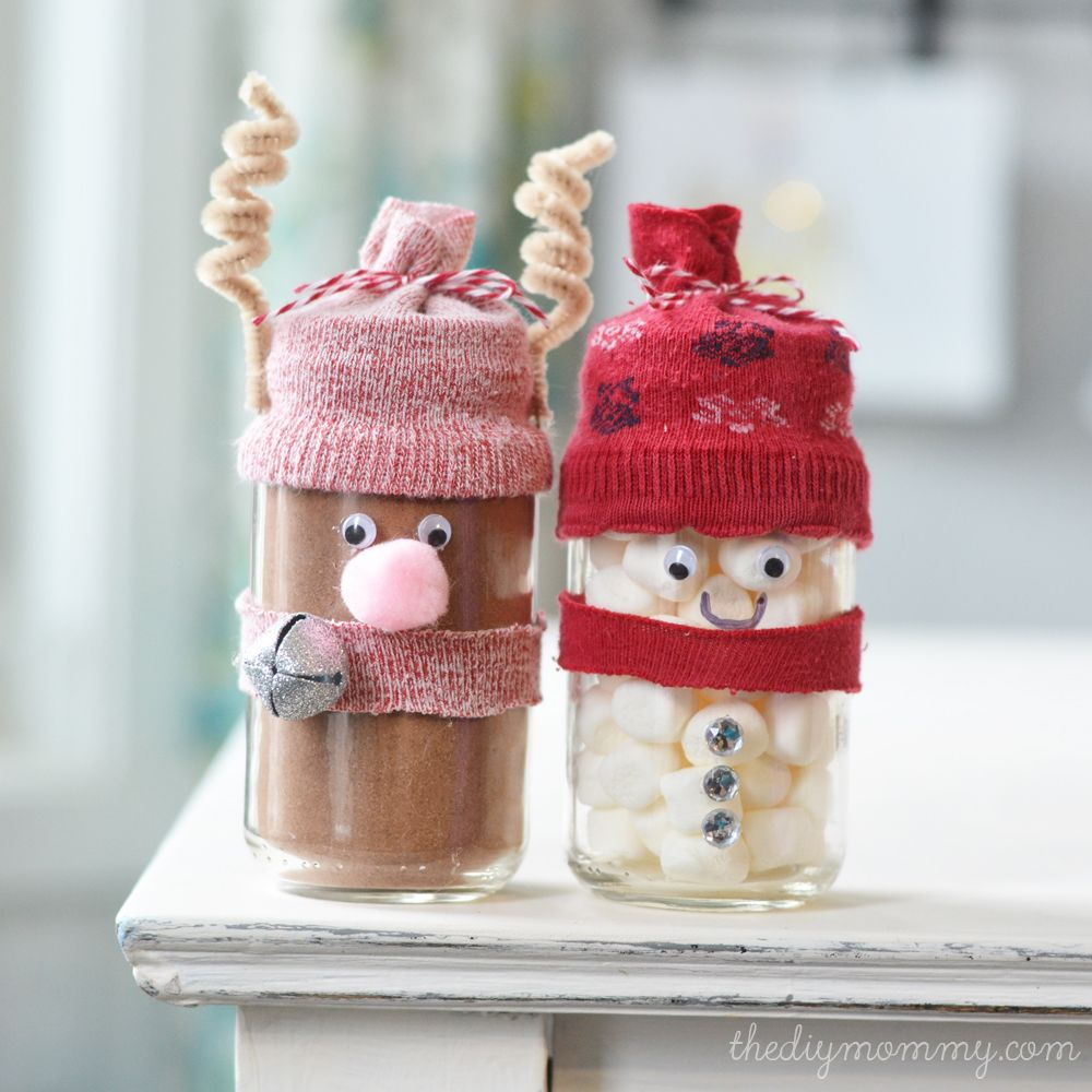 Decorated Jars For Christmas Make Hot Chocolate Reindeer And Snowman Jar Gifts  A Kid's Craft