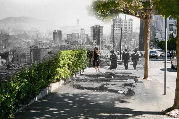 Then-and-now blend of the 1906 San Francisco earthquake
