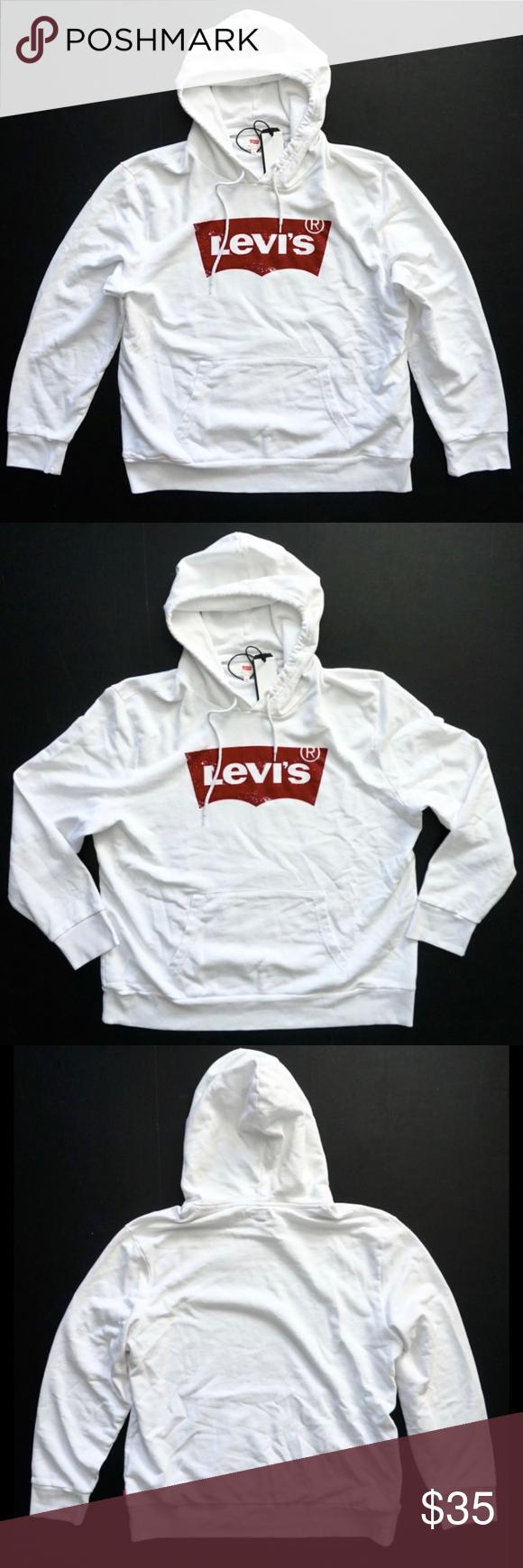 Levi S Mens White Logo Pullover Hoodie Sweatshirt Sweatshirts Hoodie Hoodies Pullover Hoodie [ 1740 x 580 Pixel ]