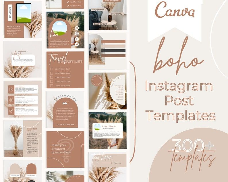 Boho Instagram Post Templates  Social Media Templates Canva  | Etsy