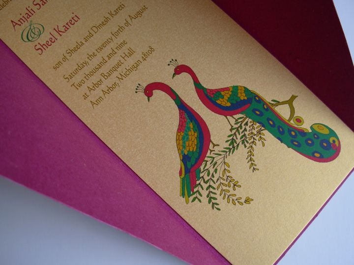 Twin Peacock Wedding Invitation From Samvadiya Cards  (www.samvadiyacards.com)