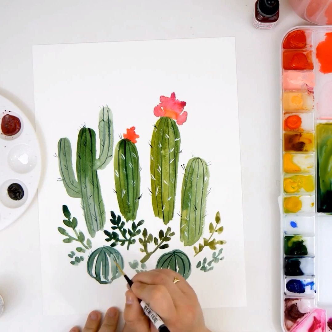 Learn To Paint Loose Watercolor Cacti On The Snowberry Design Co