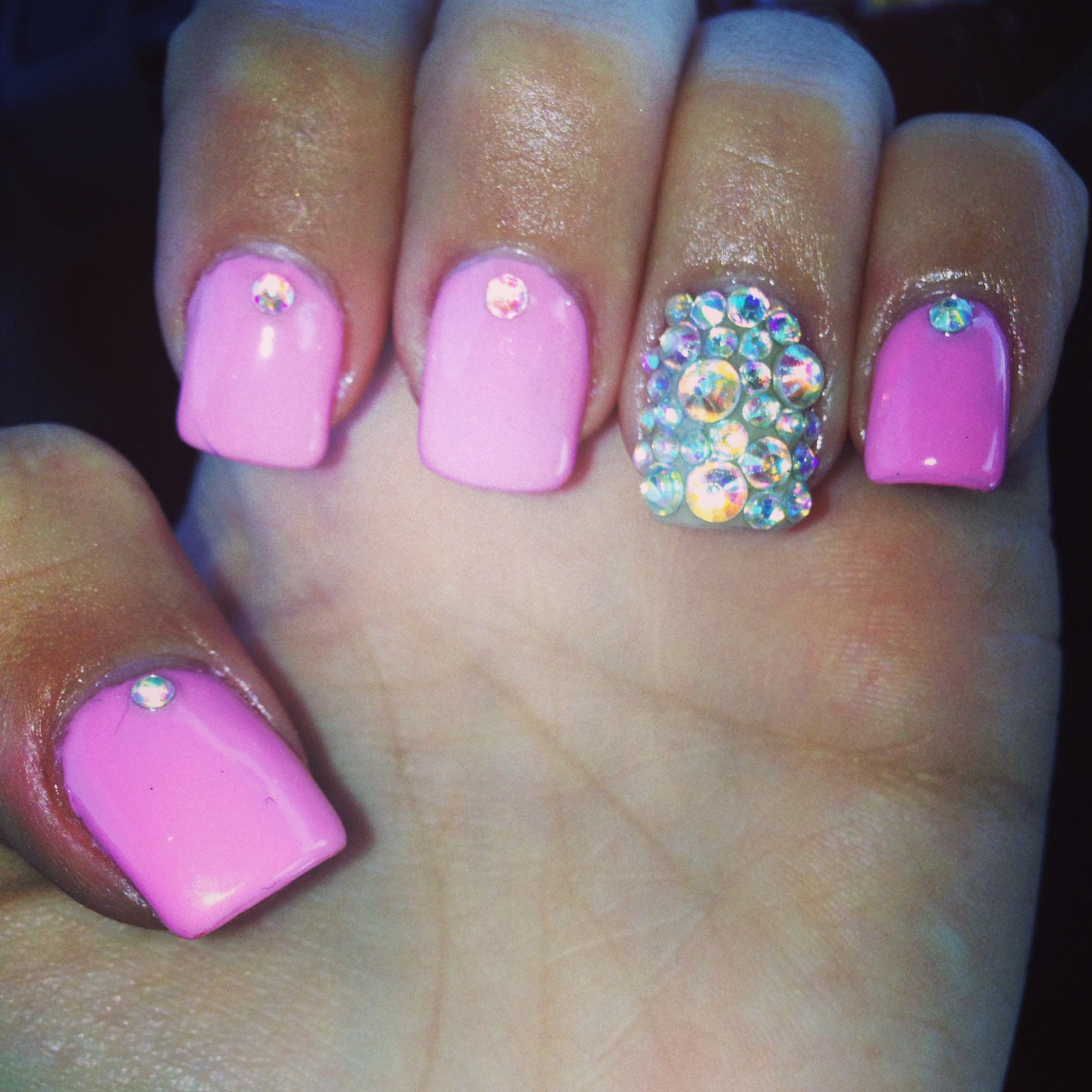Gel nails with rhinestones | nails | Pinterest