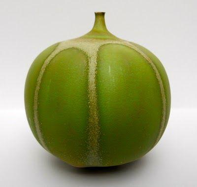 GREEN #APPLE AND CREAM #GLAZE  by Rose Cabat #pottery, #ceramics