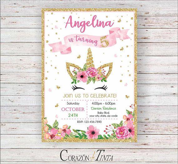 Unicorn Birthday Invitation Invite Fifth Girl 1st 2n