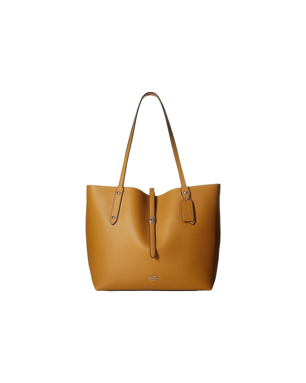 COACH   Brown Polished Pebbled Leather Market Tote   Lyst