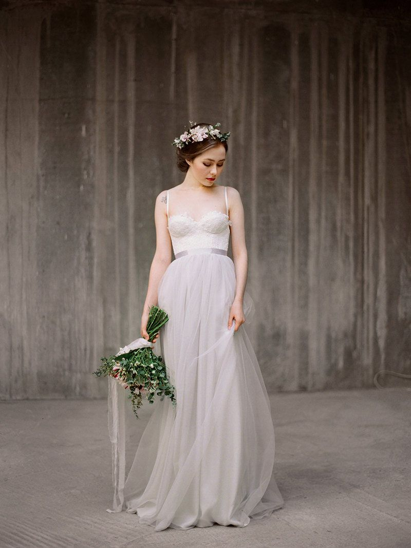 Spaghetti straps low back grey tulle beautiful informal wedding spaghetti straps low back grey tulle beautiful informal wedding dress ombrellifo Images