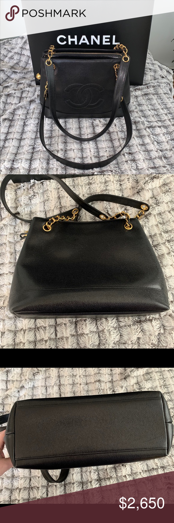 **HP**Chanel Black Leather Caviar Bag This Chanel Bag is in black caviar leather. Features caviar leather with gold tone hardware. THREE separate compartments. The middle compartment has a zippered top for privacy! The two side compartments are open for easier access BUT VERY safe!! Side zippers on both inner sides with Chanel closures. IN MINT CONDITION - WAS ONLY USED A FEW TIMES!!! LIKE BRAND NEW!! PLEASE serious inquiries only. PRICE IS FIRM! Please see pictures. This bag has been kep