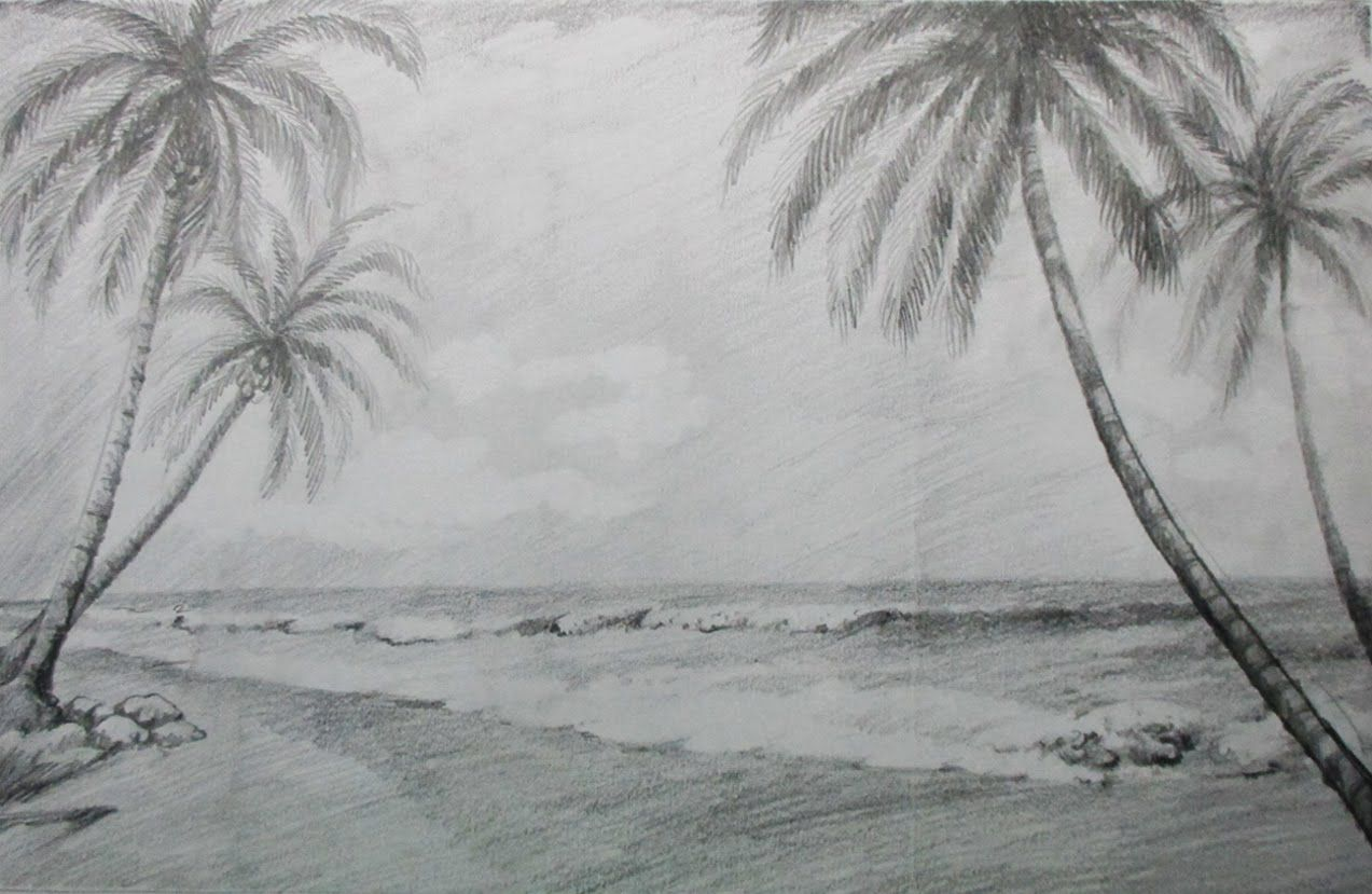 How To Draw A Beach Landscape With Pencil Drawing Scenery Beach Drawing Landscape Drawings