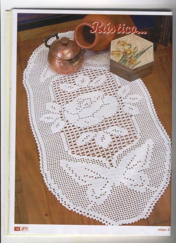 Croche maravilha de arte: Toalhinhas com gráfico   caminho de mesa ...