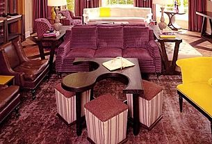 I hate to admit it, but this is too much purple.  The coffee table and additional seating combo are great, though.