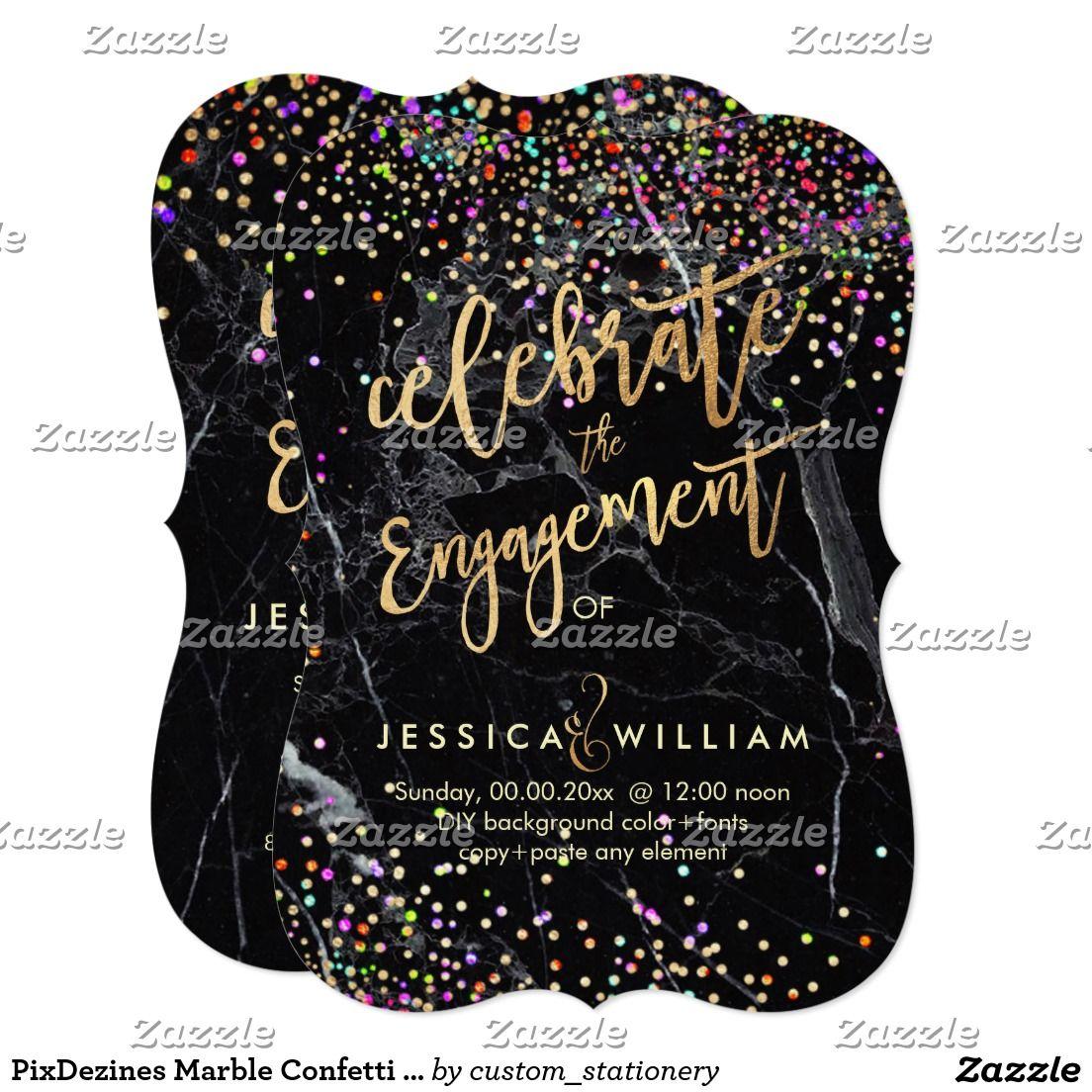 PixDezines Marble Confetti Engagement Card | Confetti, Engagements ...