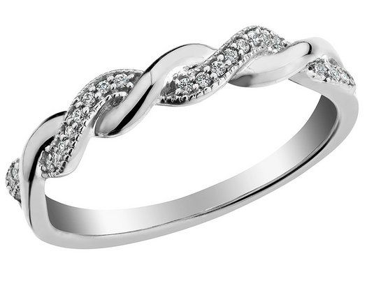 Gleaming Ribbons Of 10 Karat White Gold And 0 10 Carats Ctw Of Twinkling Diamonds Twist Around Each Other In This Playful And Elegant Promise Rings For Girlfriend Promise Ring For