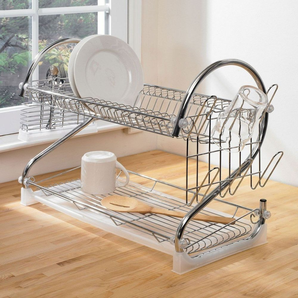 Drain Racks For Kitchen Sinks Details About Chrome Steel 2 Tier 17 Plate Dish Utensil Glass Sink