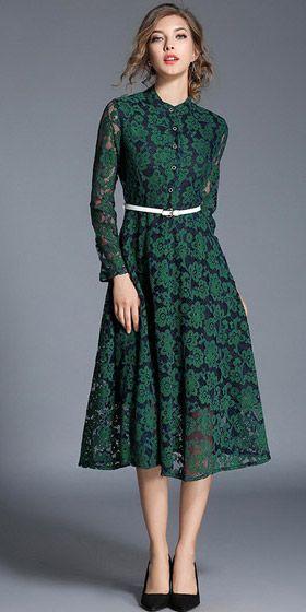 d07c487d1 Compre Vestido Midi Renda Floral Para Casamento Verde | UFashionShop