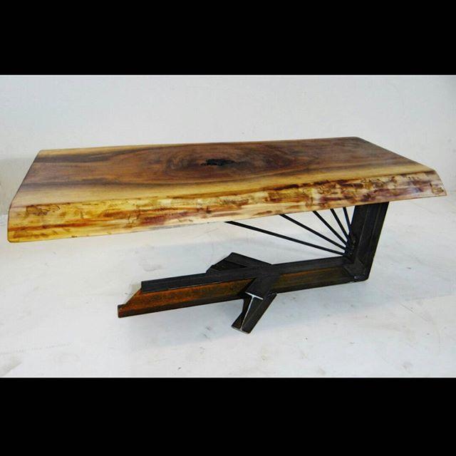 cantilevered coffee table i beam base walnut live edge slab top rh pinterest com