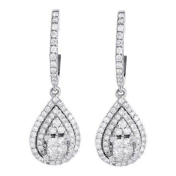 Pre owned 14K White Gold with 1 18ct Diamond Teardrop Earrings